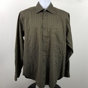 Bugatchi Uomo Dark Green Striped Dress Shirt Sz XL